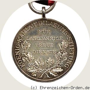Recognition Medal of the King Karl Jubilee Foundation 1893 back